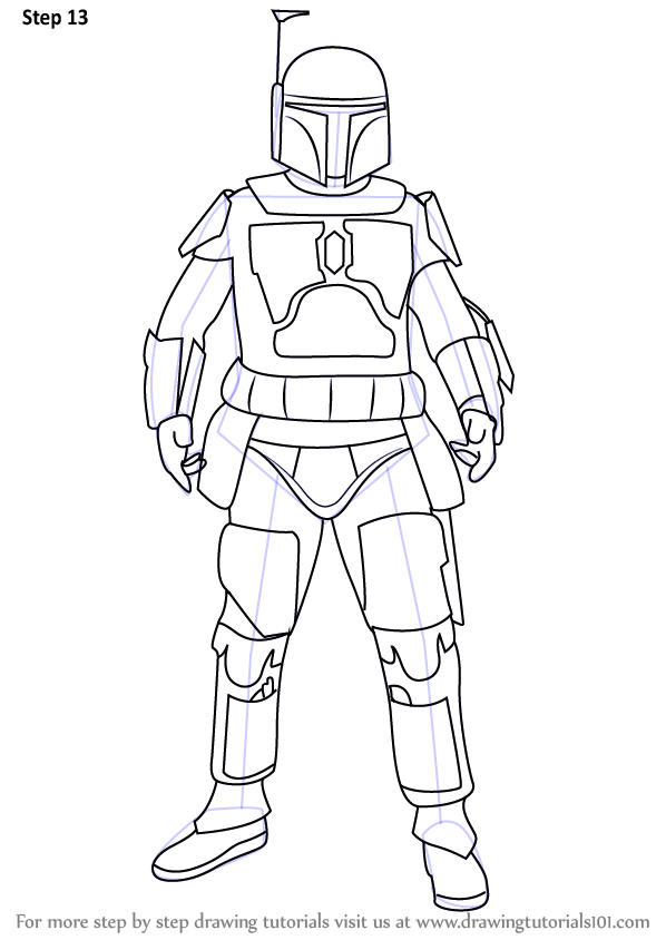 Learn How to Draw Boba Fett from Star Wars (Star Wars ...Boba Fett Drawing Tutorial
