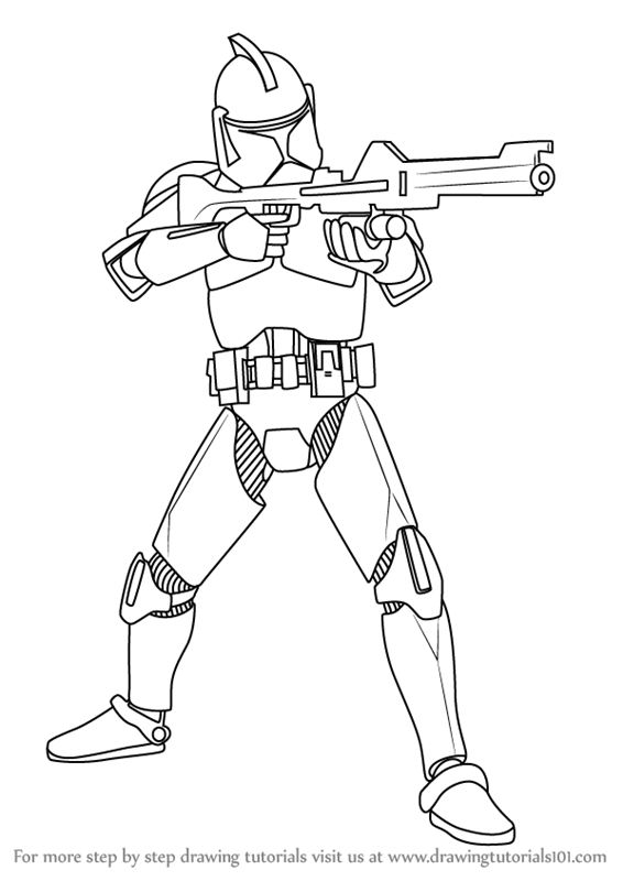 How To Draw The Clone Wars Clone Troopers From Star Wars Free