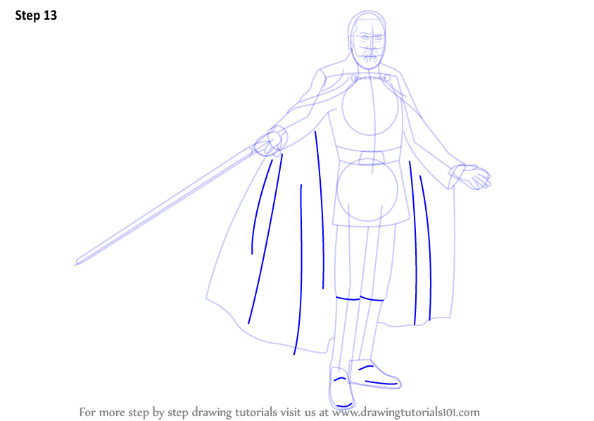 Step by step how to draw count dooku from star wars for Count dooku coloring pages
