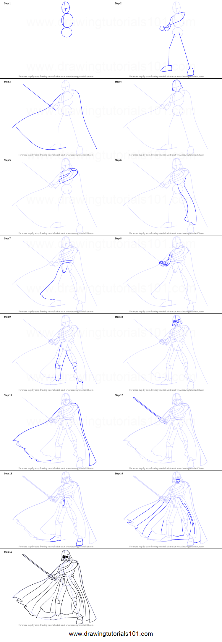 How To Draw Darth Vader From Star Wars Printable Step By Step