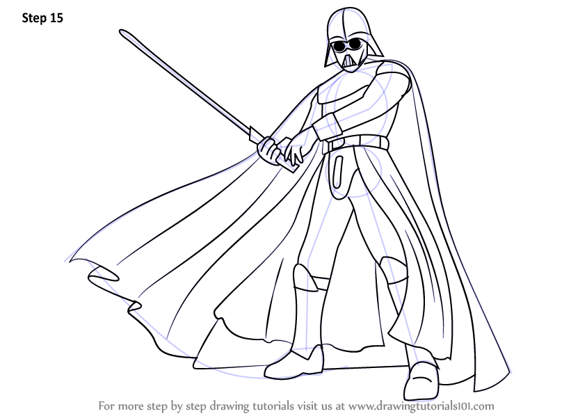 Step By Step How To Draw Darth Vader From Star Wars