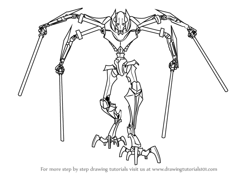 Learn How To Draw Grievous From Star Wars Star Wars Step
