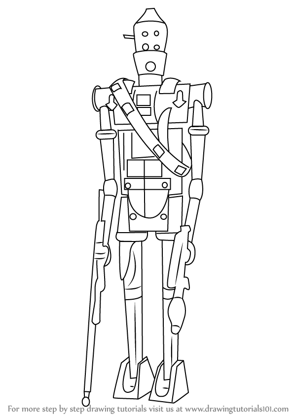 Learn How To Draw Ig 88 From Star Wars Star Wars Step By
