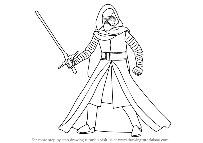 Simple dog coloring page - Learn How To Draw Kylo Ren From Star Wars Star Wars Step