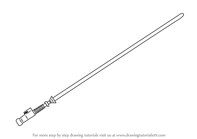 Learn How To Draw Lightsaber From Star Wars Star Wars Step By Step Drawing Tutorials