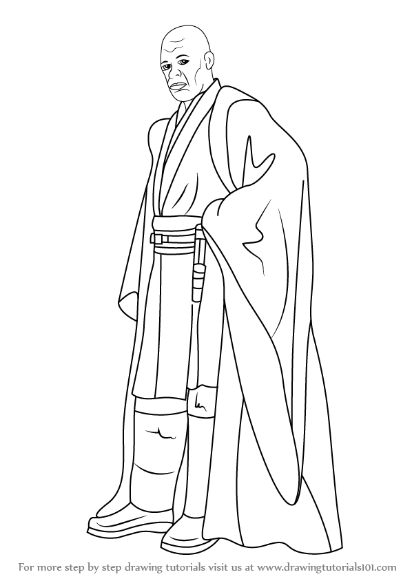 Learn how to draw mace windu from star wars (star wars) step by Count Dooku Coloring Pages Mace Windu Clone Wars Yoda C-3PO Coloring Pages
