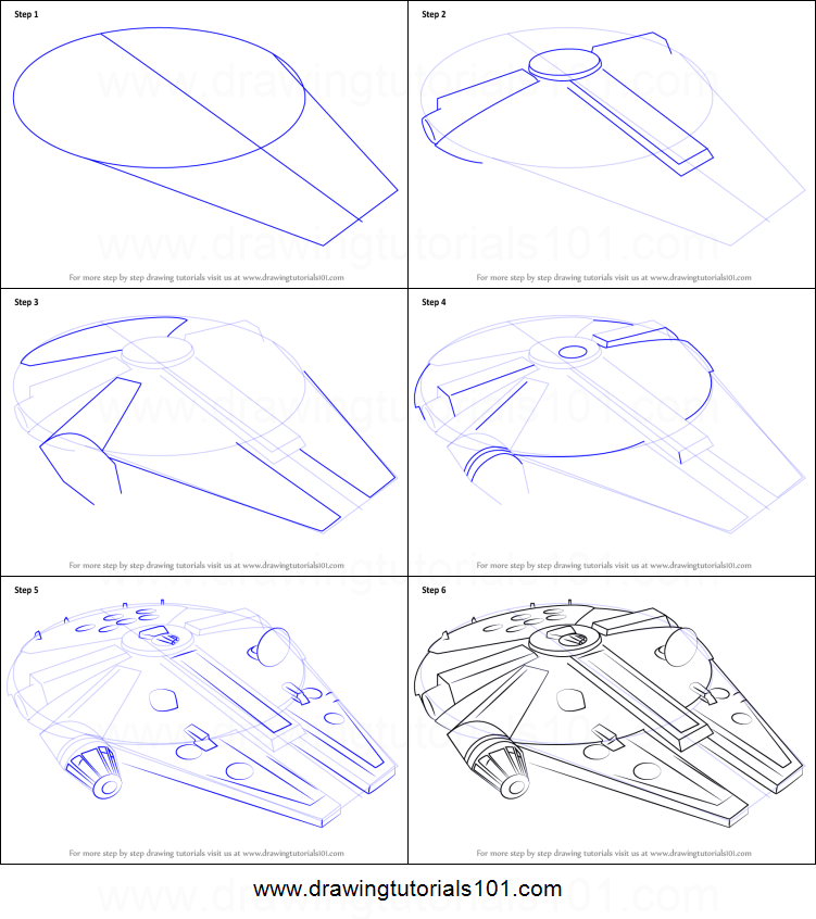 How To Draw Millennium Falcon From Star Wars Printable Step By Step Drawing  Sheet : DrawingTutorials101.com