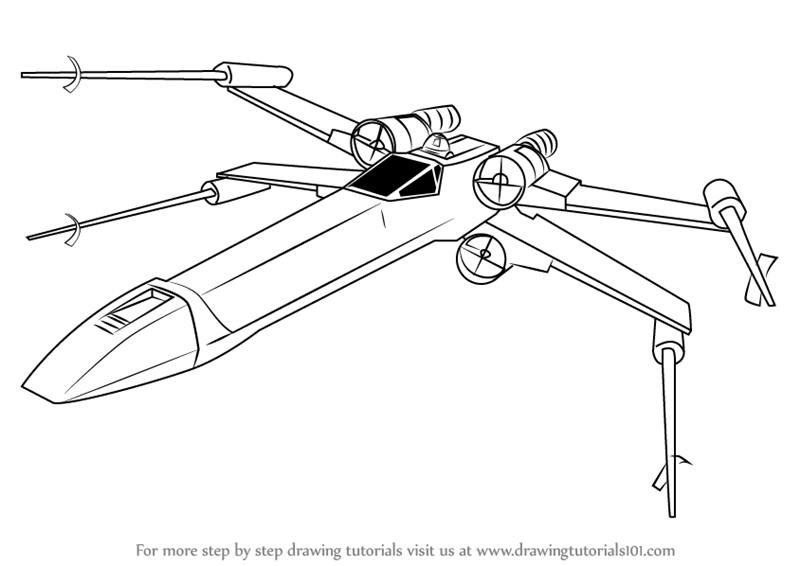 Learn How to Draw XWing fighter from Star Wars Star Wars