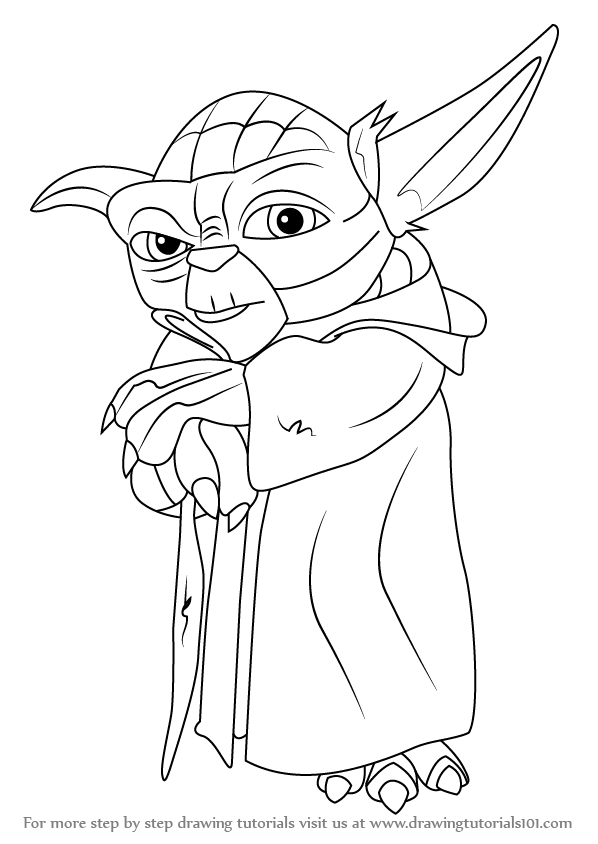 Line Drawing Yoda : Learn how to draw yoda from star wars step by