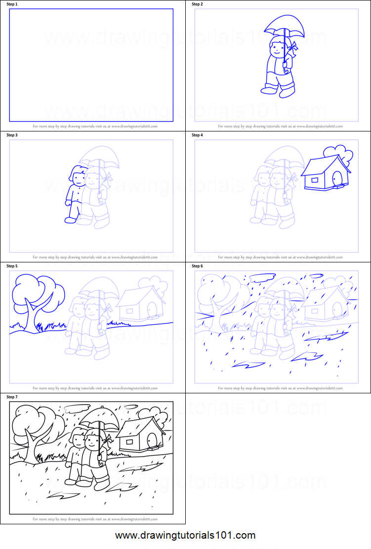 How to draw rainy season scene printable step by step drawing sheet drawingtutorials101 com