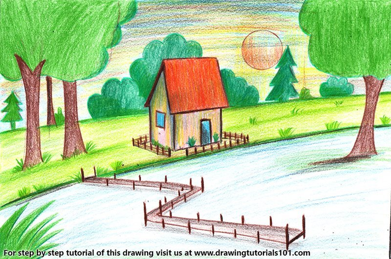 Summer Season Scenery Color Pencil Drawing