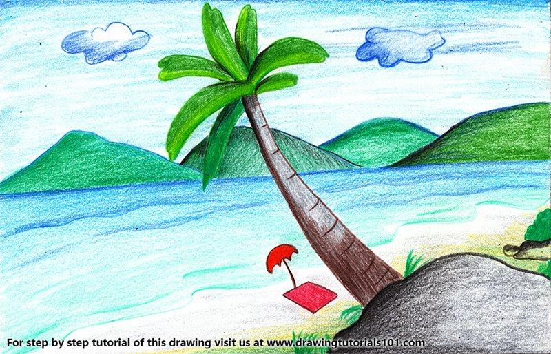 Summer Vacation Scenery Color Pencil Drawing