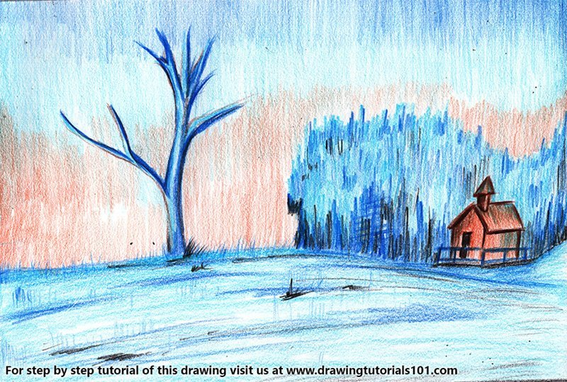 Snow Scenery Color Pencil Drawing