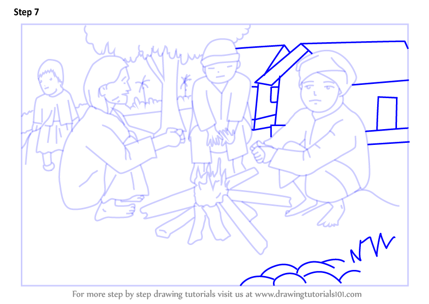 learn how to draw winter bonfire scene winter season