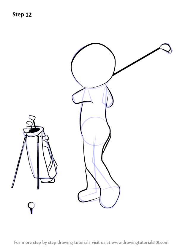 how to draw a golf club step by step