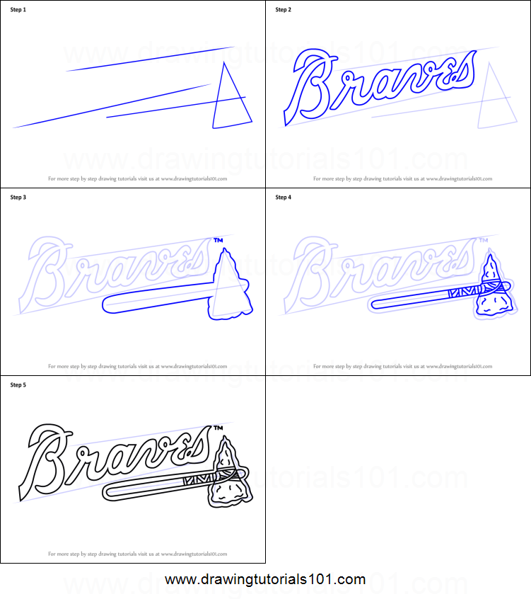 picture relating to Atlanta Braves Tv Schedule Printable called How in the direction of Attract Atlanta Braves Emblem printable move by means of stage