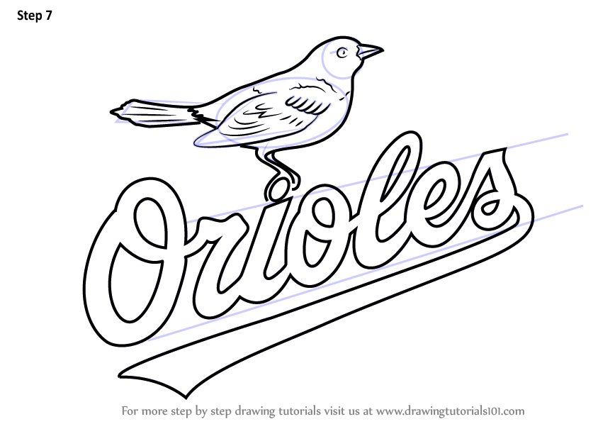Learn How To Draw Baltimore Orioles Logo Mlb Step By