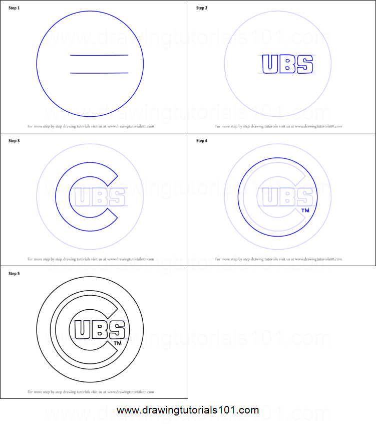 How To Draw Chicago Cubs Logo Printable Step By Step Drawing Sheet