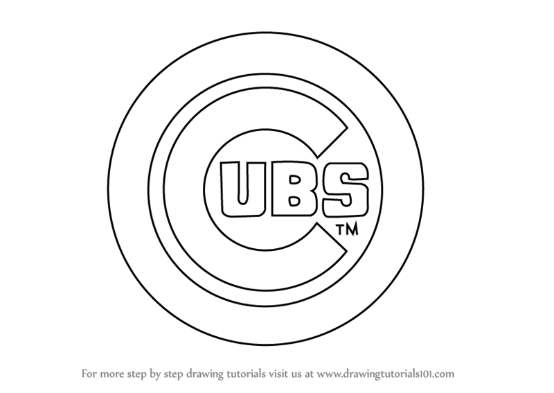 Learn How To Draw Chicago Cubs Logo Mlb Step By Step Drawing