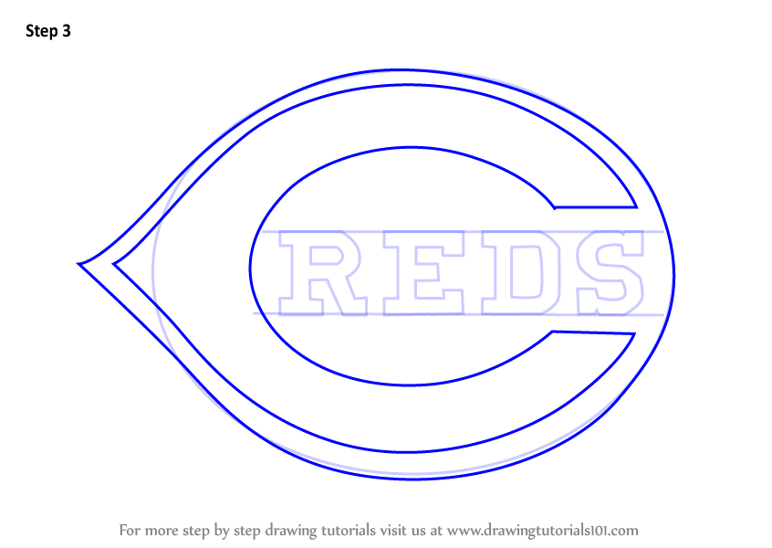 Learn How To Draw Cincinnati Reds Logo Mlb Step By Step