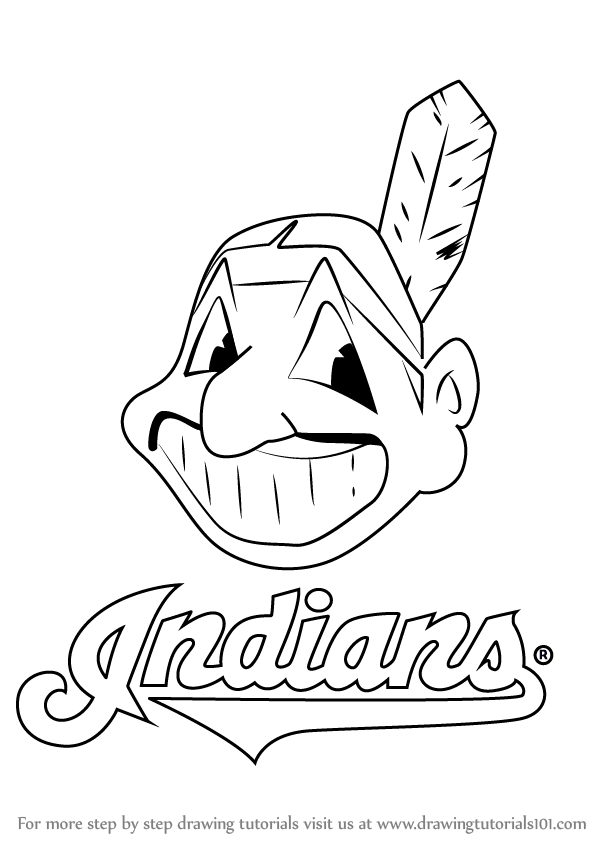Learn How To Draw Cleveland Indians Logo Mlb Step By Step