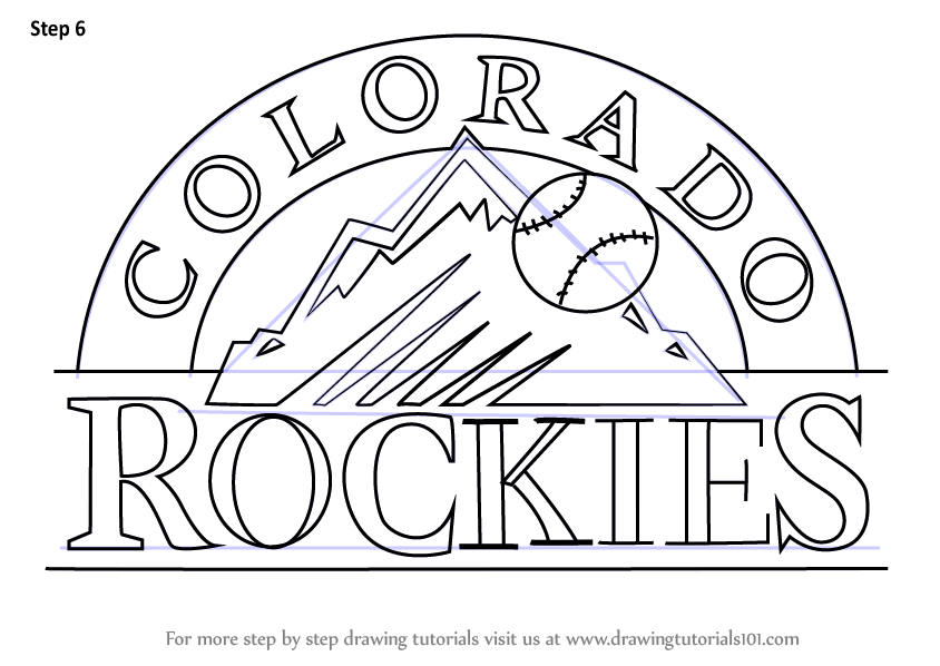 Learn How To Draw Colorado Rockies Logo Mlb Step By Step