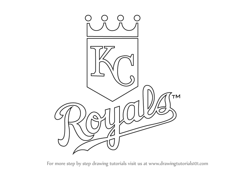 Drawing Lines Ks : Learn how to draw kansas city royals logo mlb step by