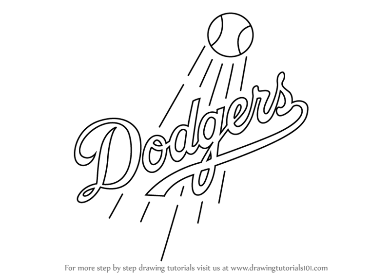 Learn How To Draw Los Angeles Dodgers Logo Mlb Step By Step