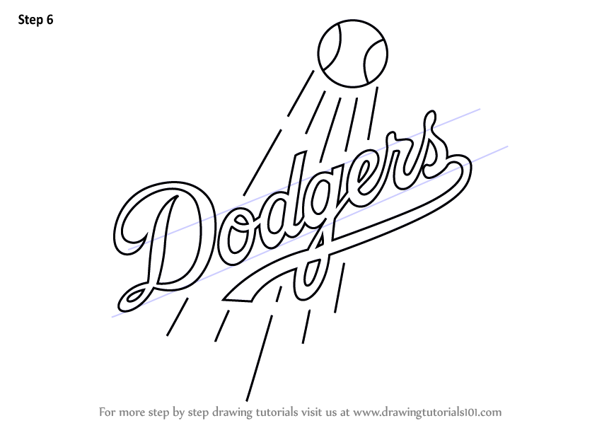 Learn How To Draw Los Angeles Dodgers Logo Mlb Step By