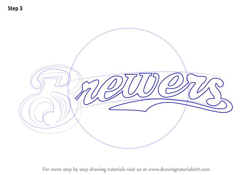 Learn How To Draw Milwaukee Brewers Logo Mlb Step By
