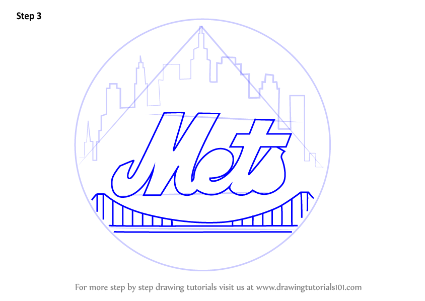 Learn How To Draw New York Mets Logo Mlb Step By Step