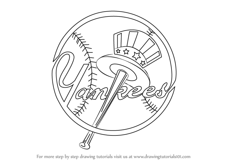 Learn How To Draw New York Yankees Logo Mlb Step By Step Drawing