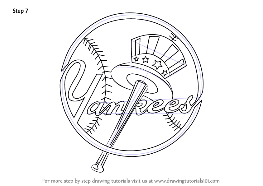 Learn How To Draw New York Yankees Logo Mlb Step By Step