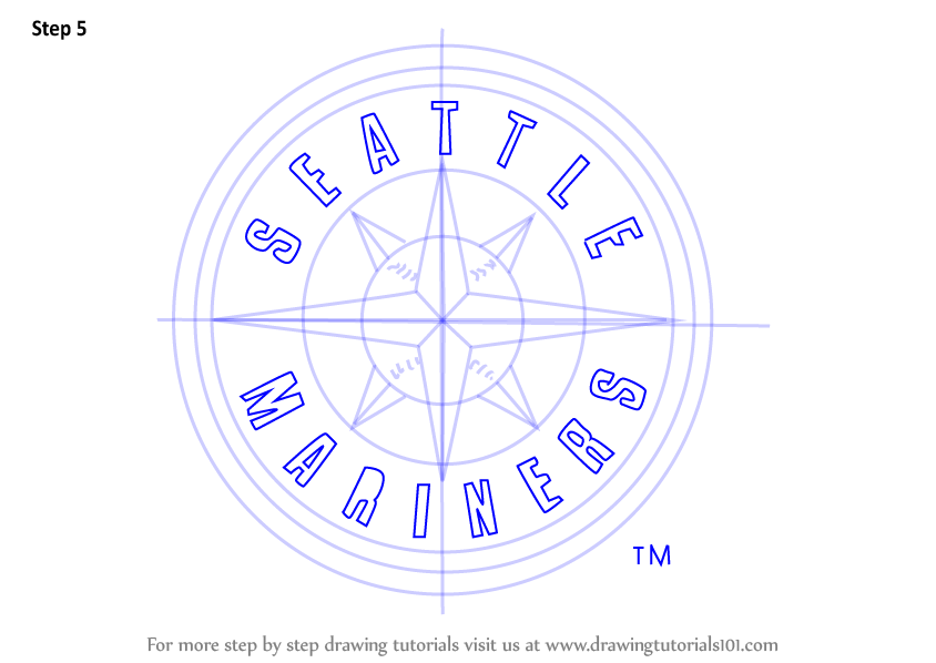 Learn How To Draw Seattle Mariners Logo Mlb Step By Step