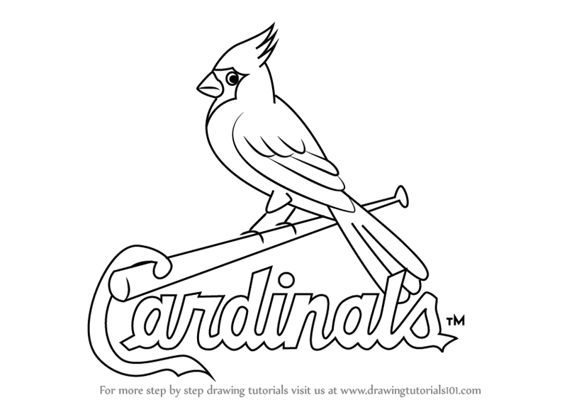 Learn how to draw st louis cardinals logo mlb step by for St louis cardinals logo coloring pages