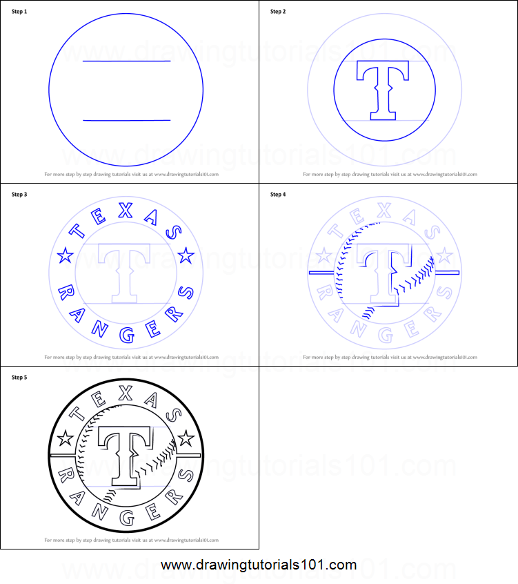 How To Draw Texas Rangers Logo Printable Step By Step Drawing Sheet Drawingtutorials101 Com