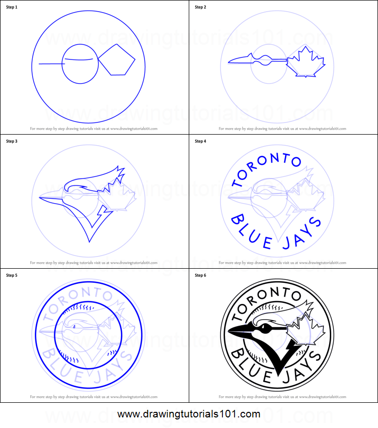 How to draw toronto blue jays logo printable step by step for Toronto blue jays logo coloring pages