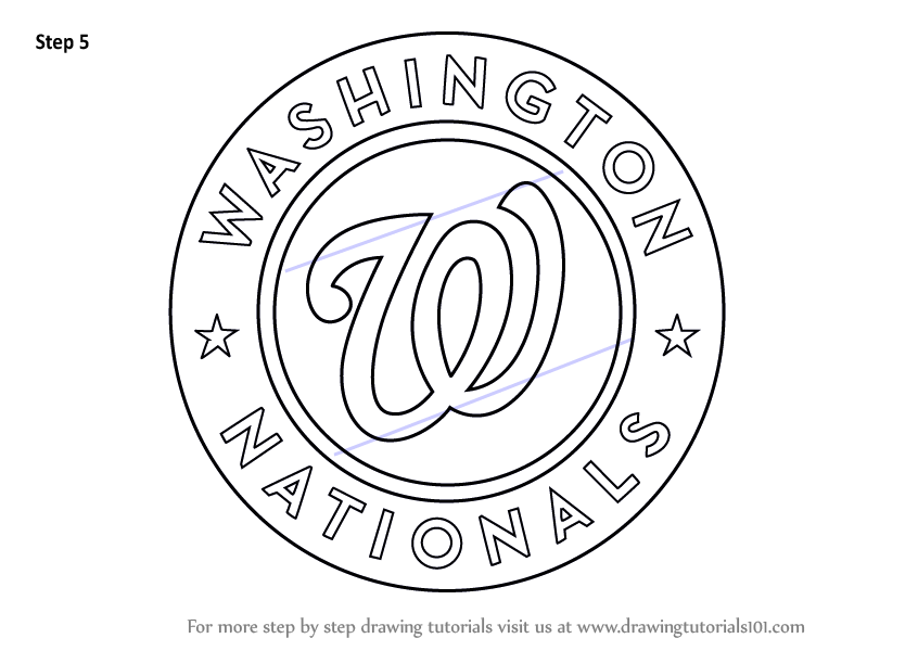 Learn How to Draw Washington Nationals Logo MLB Step by