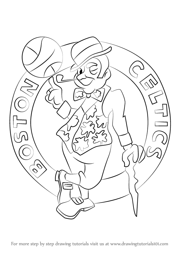 Step by step how to draw boston celtics logo for Boston celtics coloring pages