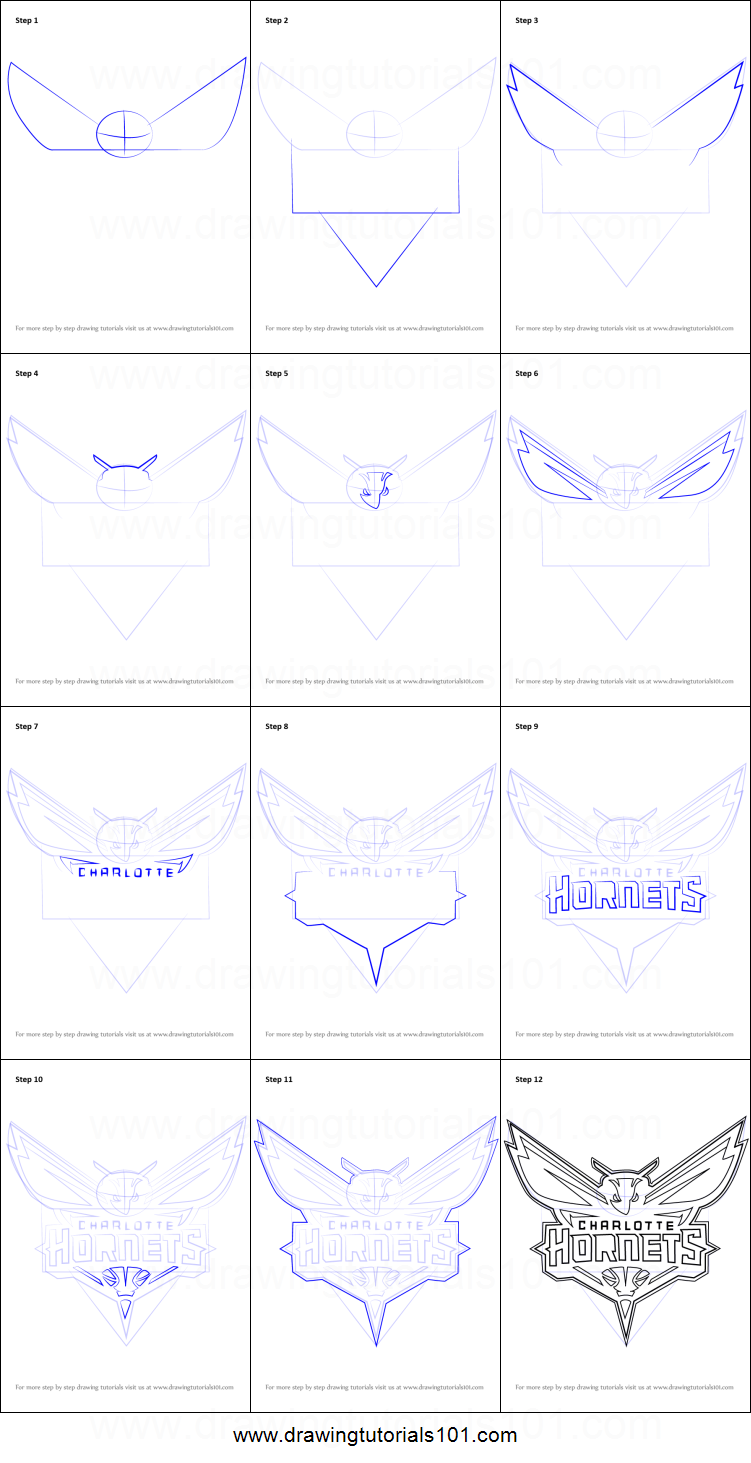 How to Draw Charlotte Hornets Logo printable step by step ...