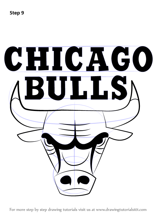 Step By Step How To Draw Chicago Bulls Logo DrawingTutorials101