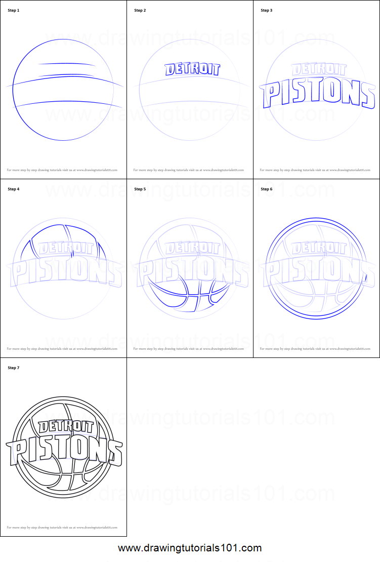 graphic relating to Detroit Pistons Printable Schedule referred to as How toward Attract Detroit Pistons Symbol printable phase by means of action