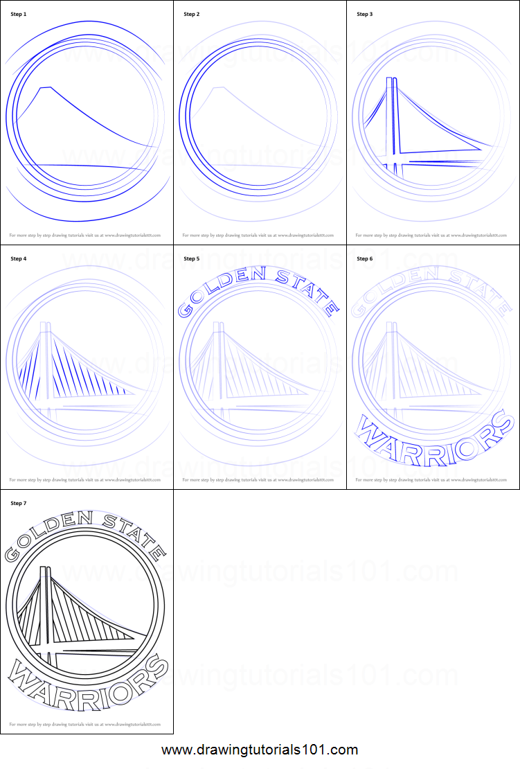 How To Draw Golden State Warriors Logo Printable Step By