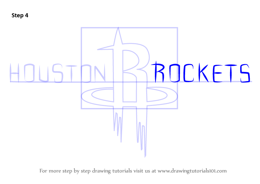 Learn How To Draw Houston Rockets Logo Nba Step By Step