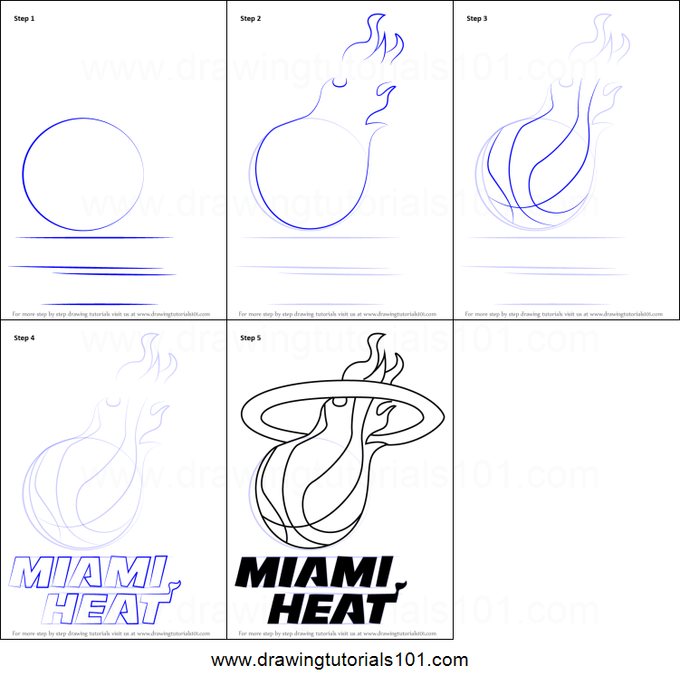picture regarding Miami Heat Printable Schedule identify How in direction of Attract Miami Warm Brand printable stage via stage drawing