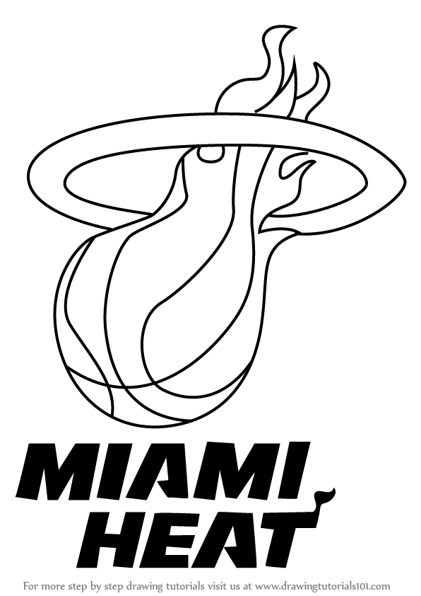 Learn How To Draw Miami Heat Logo Nba Step By Step Drawing Tutorials