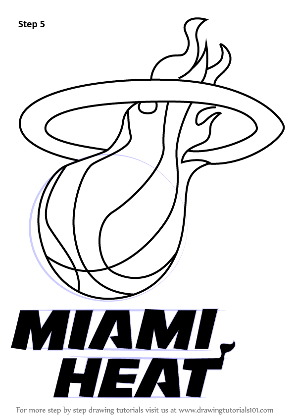 learn how to draw miami heat logo  nba  step by step how to draw the los angeles lakers logo Lakers Logo Coloring Pages