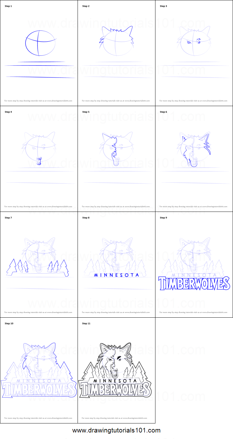 How To Draw Minnesota Timberwolves Logo Printable Step By Step