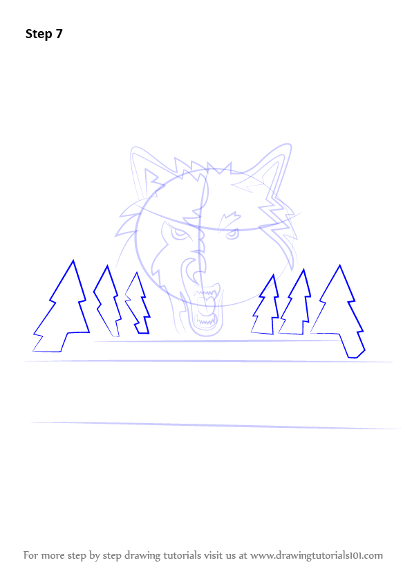 Learn How To Draw Minnesota Timberwolves Logo Nba Step By Step