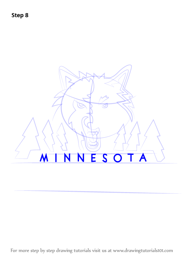 Learn How To Draw Minnesota Timberwolves Logo Nba Step